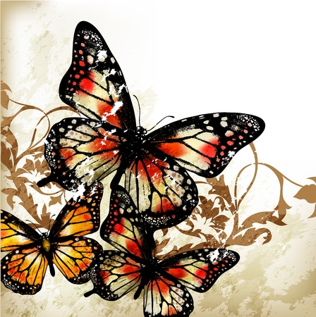 Vector illustration with butterflies Stock Vector - 17048766