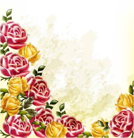 Elegant background with roses painted in watercolor retro style Vector