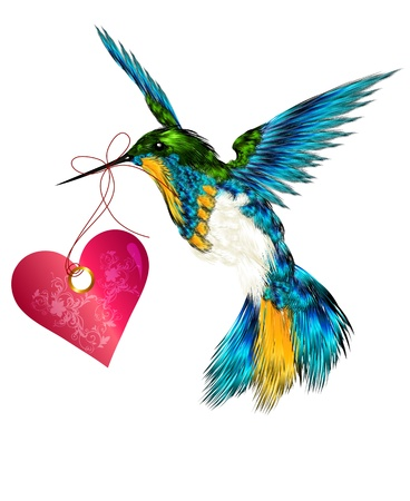 Hummingbird with pink heart for valentines design Vector