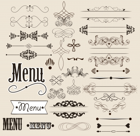 set of calligraphic elements for your design Calligraphic  Vector