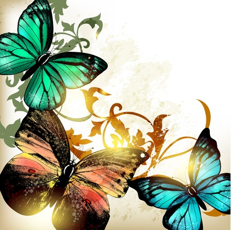 illustration with butterflies Stock Vector - 17342065