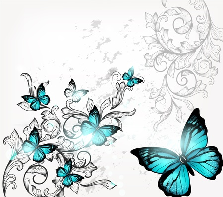 illustration with butterflies  Vector