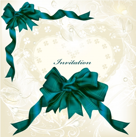 Vintage elegant  background with bow and ribbon Vector