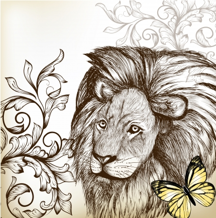 lion drawing: Vintage vector
