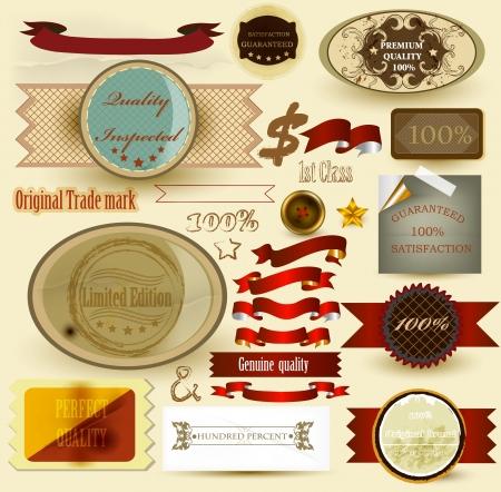 40 s: Set of vintage labels in 40-s and 50-s style   for design  Vintage labels Illustration