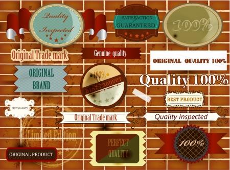 40 s: Set of vintage labels on a brick wall for design  Vintage labels Illustration
