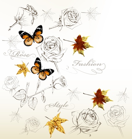 Fashion vector background with butterflies and roses Vector