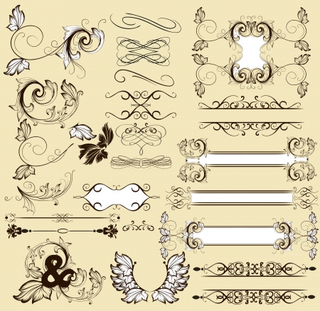 text frame: Vector set of calligraphic elements for your design  Calligraphic vector