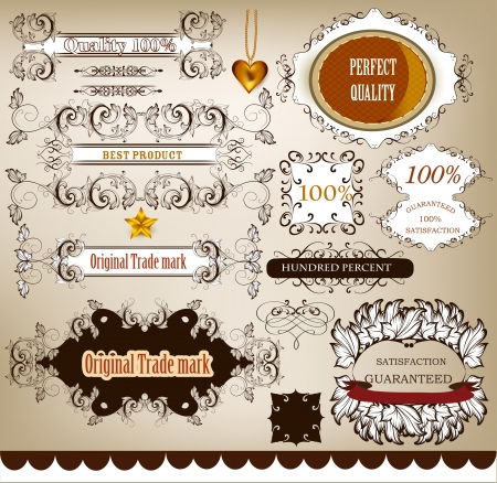 Retro label set genuine, best, original, inspected and guaranteed quality Stock Vector - 18123050