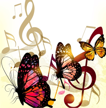 Grunge  fashion music background with butterflies and notes Vector