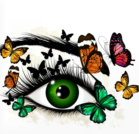 lash: Artistic fashion conceptual background with green eye and butterflies Illustration