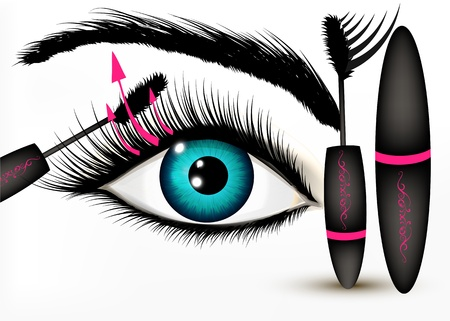 brows: Artistic fashion conceptual background with blue human eye and mascara Illustration