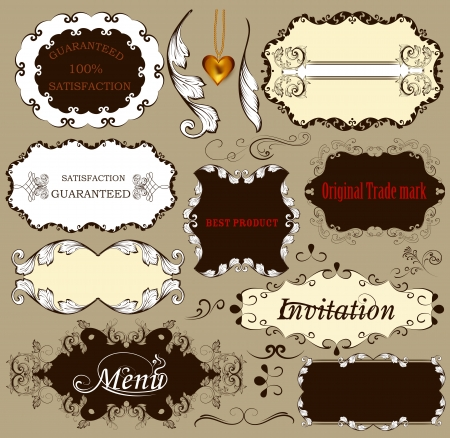 Set of labels or calligraphic design elements Stock Vector - 18255401