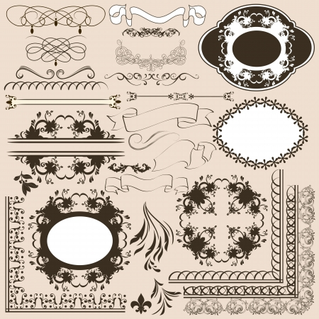 set of calligraphic elements for design  Calligraphic Stock Vector - 18255398