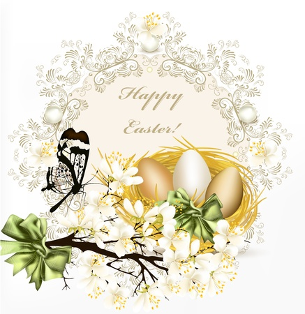 springtime flowers: Easter  greeting card with banner and symbols of Easter for your  design