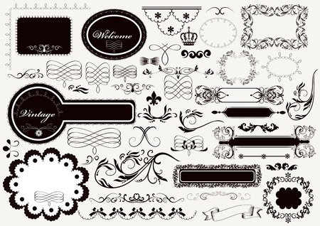 set of calligraphic elements for design  Calligraphic  Stock Vector - 18401115