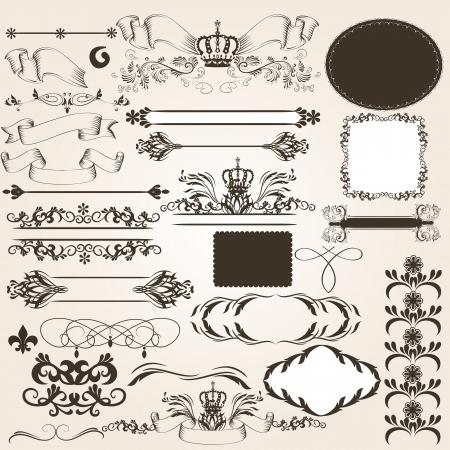 set of calligraphic elements for design  Calligraphic