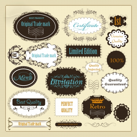 Set of labels or calligraphic design elements Stock Vector - 18401112