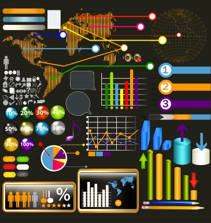 Set of web elements, diagrams, symbols, page panels for design Stock Vector - 18401160