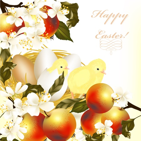 nest egg: Cute Easter greeting card with eggs, apples and  spring flowers