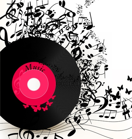 Cute conceptual music background with vinyl record for your design Vector