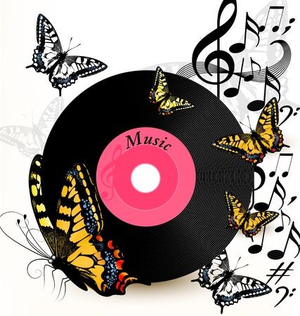 музыка: Симпатичные концептуальная музыкальный фон с виниловых дисков и бабочек Иллюстрация