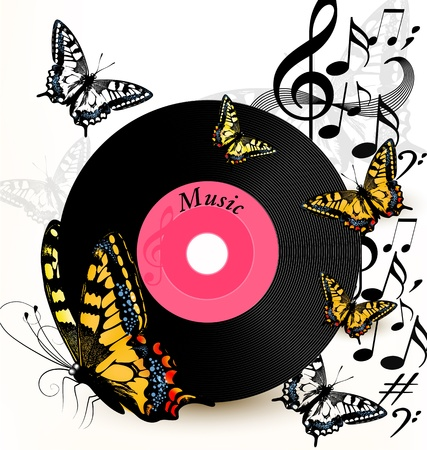 Cute conceptual music background with vinyl record and butterflies Vector