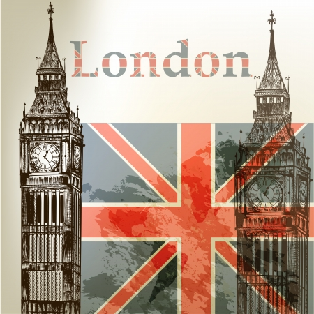 Creative hand drawn background with London Big Ben and flag