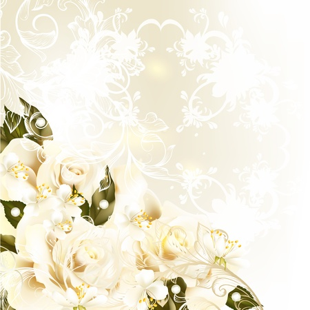 Cute wedding background with roses, lace and place for text Illustration