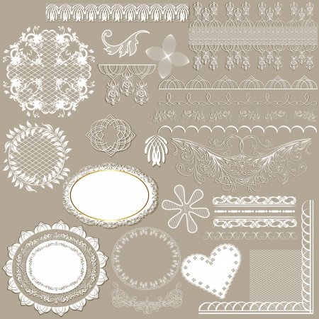 set of calligraphic elements or lace  for design  Calligraphic  Vector