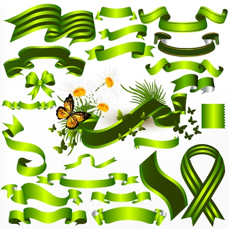 Vector Ribbons set in green color  for  your design Stock Vector - 18569944