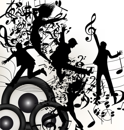 treble clef: Cute music background with young jumping and happy people enjoy music