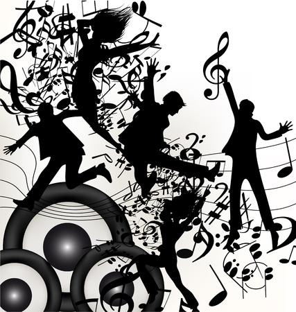 clave de sol: Música de fondo linda con el salto joven y feliz a la gente disfrutar de la música