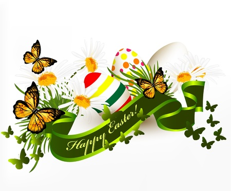 Easter banner with green grass, green ribbon and eggs on white Stock Vector - 18569954