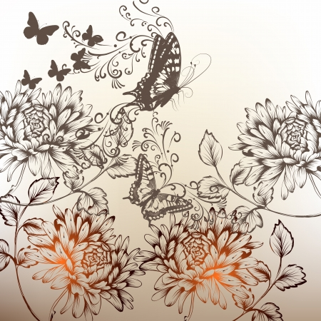 Elegant hand drawn background with flowers and butterflies Vector