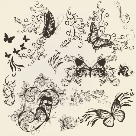 filigree: set of filigree beautiful butterflies for design