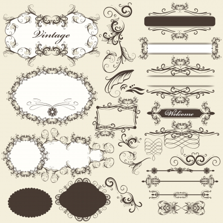 Vector set of calligraphic elements for design  Calligraphic vector Stock Vector - 18707596