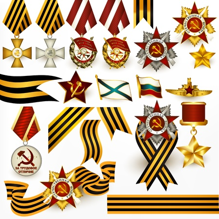 stripped: Vector set of  stripped ribbons and medals symbol of win of second world war