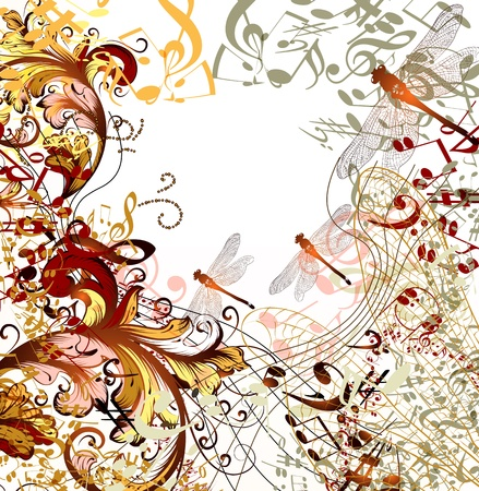 conceptual music background with dragonfly, ornament and notes