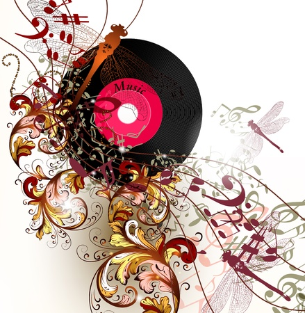 abstractly: conceptual music background with vinyl record and dragonfly