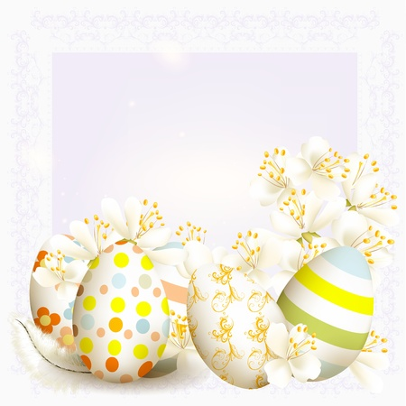 Cute Easter background with clear space and  colored eggs Stock Vector - 18707629