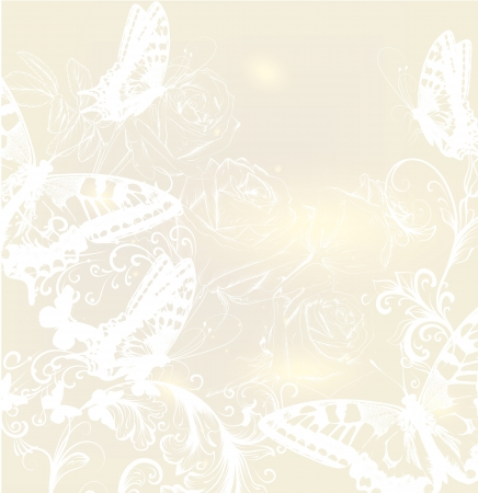 Cute wedding background with roses and butterflies Vector