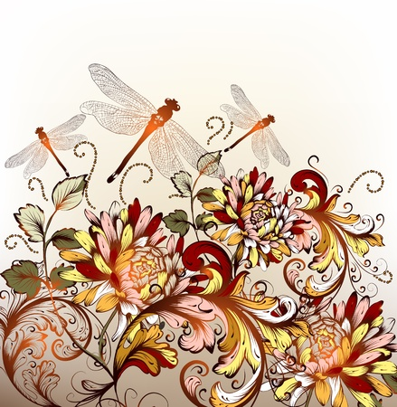 psychedelic background: Beautiful floral background with colorful ornament and dragonfly