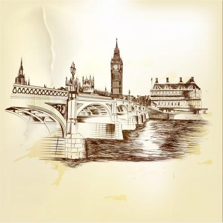 london city: Creative hand drawn background with London bridge  Retro