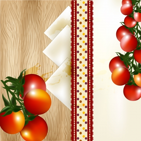 cherry tomato: Cherry tomato with banner on a hardwood texture