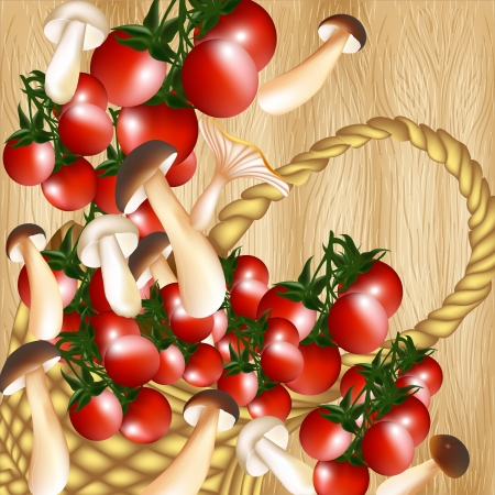 cherry tomato: Cherry tomato and mushrooms on a hardwood texture Illustration