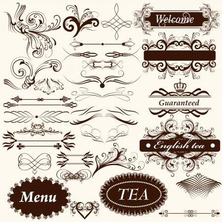 set of calligraphic elements for design  Calligraphic  Stock Vector - 18866232