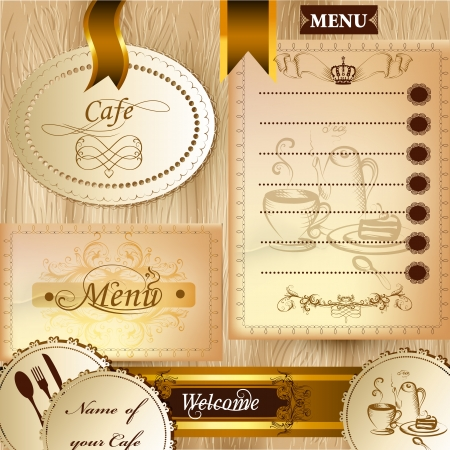 cafeterias: Elegant classic design of menu elements for cafe or restaurant