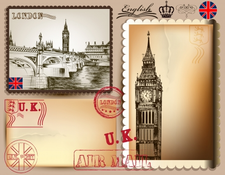 set of RETRO postcards with London for design  Calligraphic  Vector