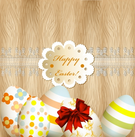 Easter greeting card with eggs on a hard wooden texture Stock Vector - 18866261